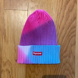 New Supreme Overdyed Pink Tie Dye Beanie authentic